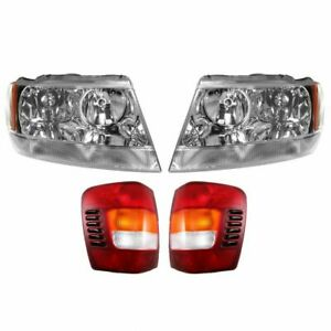 Headlights Headlamps Taillights Set Of 4 Kit For 99 03 Grand Cherokee Limited