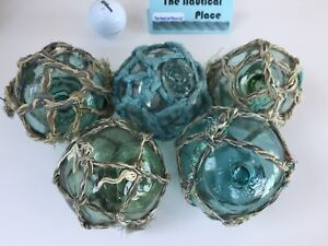 5 X 3 Japanese Glass Fishing Floats With Netting Authentic Old Vintage