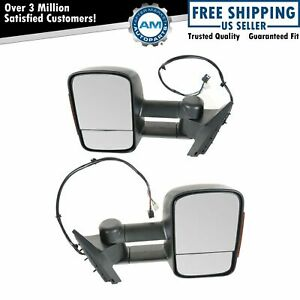 Side View Mirrors Power Heated Memory Signal Towing Pair Set For Chevy Gmc