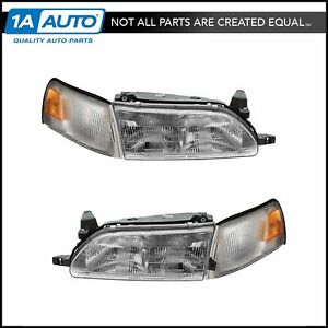 Headlights Parking Corner Lights Left Right Kit Set For 93 97 Toyota Corolla