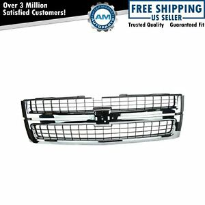 Grille Grill Chrome Black For 07 10 Chevy Silverado Truck 2500hd 3500hd