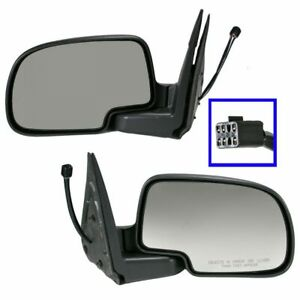 Power Heated W Puddle Light Side View Mirrors Pair Set For Chevy Gmc