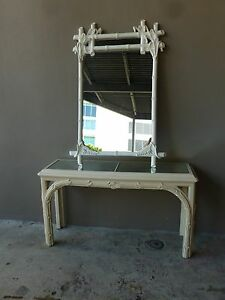 Fabulous 70 S Vintage Palm Beach Style Chinese Chippendale Console And Mirror