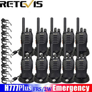 10pcs Retevis H777 1000mah 16ch Uhf400 470mhz 2 way Radio 10x Speaker Mic Us