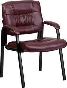 Lot Of 6 Burgundy Leather Guest Reception Waiting Room Office Chairs