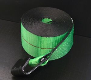 8 Green 4 X 30 Winch Straps Flat Hook Flatbed Truck Trailer Tie Down Strap Fh