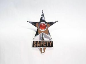 Light Up Amber Dot Vintage Style Safety Star License Plate Ornament Hot Rat Rod