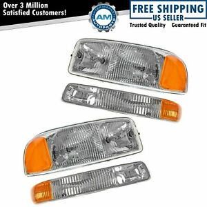 Headlight Headlamp Corner Parking Lights Set Kit For Gmc Sierra Truck Yukon