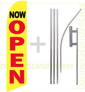 Now Open Swooper Flag Kit Feather Flutter Banner Sign 15 Set Yb