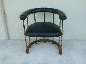 Chic 70 S Mastercraft Style Brass Plated Faux Bamboo Barrel Back Chair