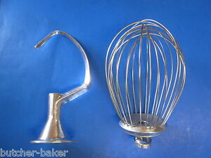 2 Pc Set 10 Quart Bakery Mixer Dough Hook Wire Whip For Hobart C100 C100t