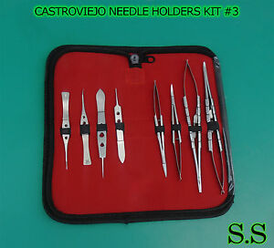 8 Pcs O r Grade Castroviejo Needle Holders scissors suture Tying Forceps Kit 3