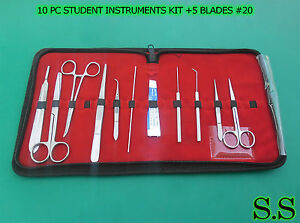 Set Of 10 Pc Student Dissecting Dissection Medical Instruments Kit 5 Blades 20
