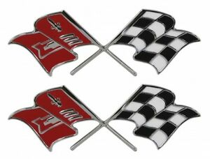 57 Chevy Fuel Injection Flags Emblem Pair 1957 Chevrolet New