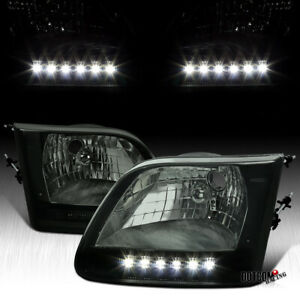 For Ford 1997 2003 F150 F 150 Pickup Smoke Led Headlights Head Lamps Left right