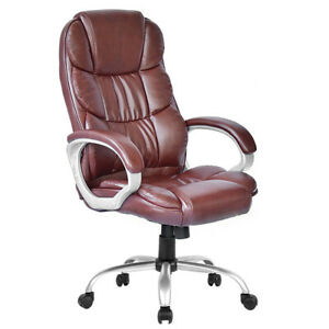 High Back Leather Executive Office Desk Task Computer Chair W metal Base O10r