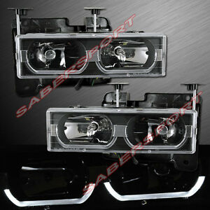 Black Euro Clear Headlights W Led Bar For 1988 1999 Gmc Chevy C K Full Size
