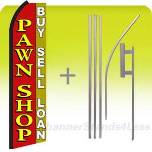 Pawn Shop Buy Sell Loan Swooper Flag Kit Feather Flutter Banner Sign 15 Rz