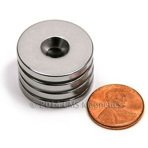 50 Pc Neodymium Magnets N42 1 x1 8 W 1 Countersunk Hole For 8 Screw
