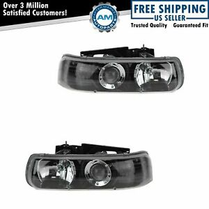 Headlight Headlamp Performance Black Bezel Pair For Silverado Tahoe Suburban