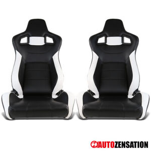 Left Right Reclinable Sport Racing Seats Black White Leather W Slider