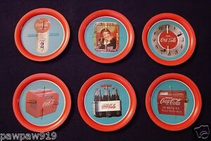 COCA COLA COASTERS TRAYS METAL SET OF 6 UNUSED COKE VINTAGE ADVERTISING 31/2