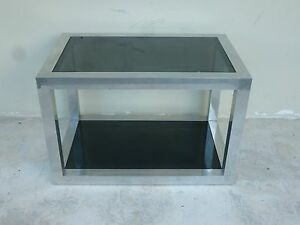 High Quality 70 S Pace Style Aluminum Rectangular Table W Black Glass Inserts
