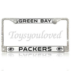Green Bay Packers Football Bling License Plate Frame Made With Swarovski Crystal