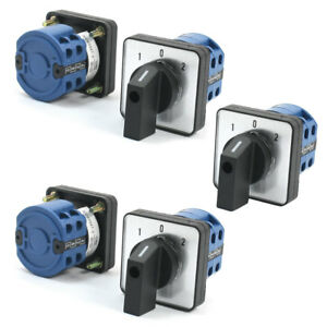 5 Pcs 690v 20a 2 pole 3 position Square Panel Mounting Changeover Switch