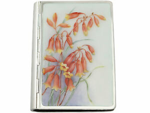 German Silver And Enamel Card Case Vintage Circa 1940