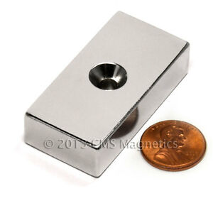 N50 Neodymium Magnet 2x1x1 2 W Double Sided 10 Countersunk Hole 50 Pc
