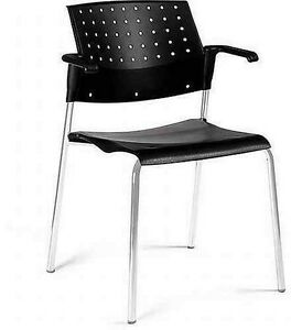 Global Sonic 6513 Polypropylene Stacking Chair With Arms
