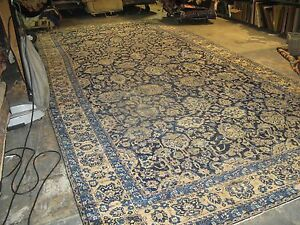Antique Ocm Agra Lavar Kerman Handmade Wool Blue Persian Gallery Rug 8 6x18 3