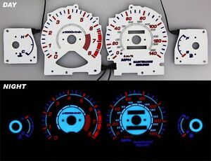 Fits 96 97 Honda Accord Night Glow Gauges White Face Reverse