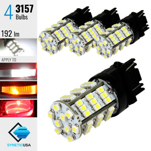 4x 3157 4157k 3357k Brake Tail Stop Light Xenon 6000k White 54 Smd Led Bulbs