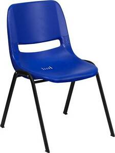 Lot Of 40 440 Lb Capacity Preschool Navy Stack Chair And 12 Seat Height