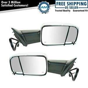 Mirror Tow Power Heated Signal Memory Puddle Light Chrome Pair Set For Ram New
