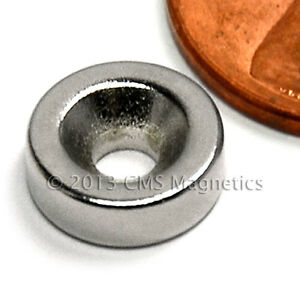 N42 Disk Neodymium Magnet 3 8x1 8 W 1 Countersunk Hole For 4 Screw 100 Pc