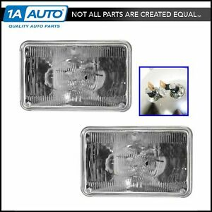 Halogen Sealed Beam Headlights Headlamps Multifit 6 1 2 By 4 1 4 Pair Set New