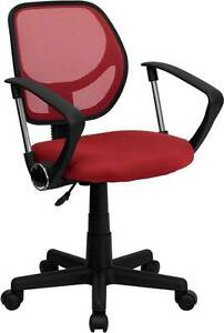 Mid back Red Mesh Task Chair And Computer Chair With Arms