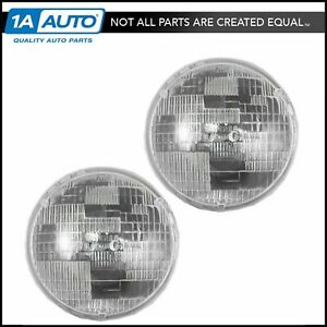 Round Sealed High Beam Headlights Headlamps Pair Set For Chevy Pickup Truck Car