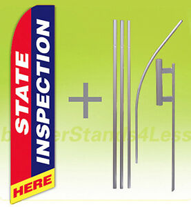 State Inspection Here Swooper Flag Kit Feather Flutter Banner Sign 15 Tall Rb
