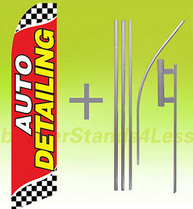 Auto Detailing Swooper Flag Kit Feather Flutter Banner Sign 15 Checkered Rb