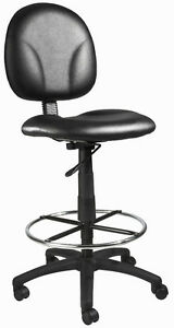 Black Leather Drafting Stool Chair With Chrome Foot Ring B1690 cs