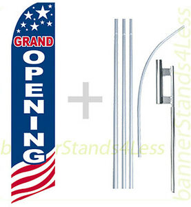 Grand Opening Swooper Flag 15 Kit Feather Flutter Tall Banner Sign Usa Bb