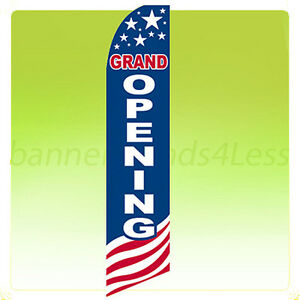 Grand Opening Swooper Flag Feather Flutter Banner Sign 11 5 Tall Usa Bb