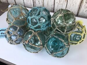 10 X 3 Japanese Glass Fishing Floats With Netting Authentic Old Vintage
