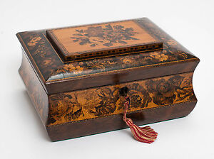 An Antique Tunbridge Ware Sewing Or Work Box Inlaid With Roses Victorian C1870