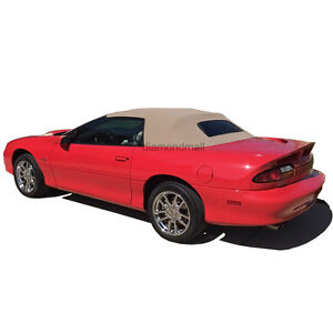 Chevrolet Camaro 1994 02 Convertible Soft Top With Plastic Window Tan Pinpoint