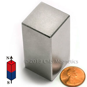 Cms Magnetics 127 3 Lb Holding Power N45 Neodymium Block Magnet 1 x 1 x 2 4 pc